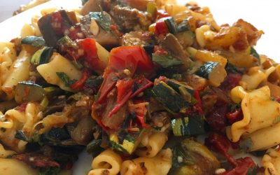 Pasta with Zucchini, Tomato, and Eggplant