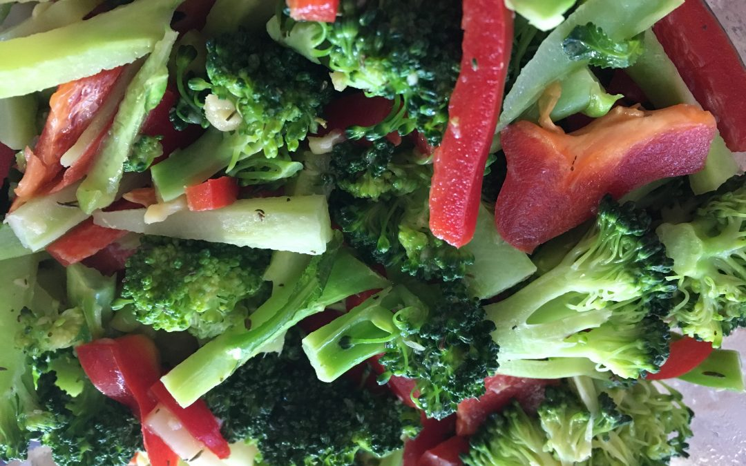 Orange Broccoli Red Pepper Salad or Hot Side